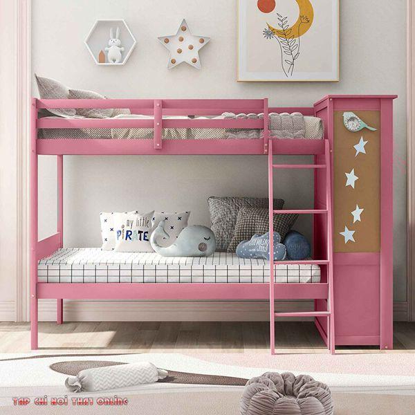 giường tầng màu hồng đơn giản