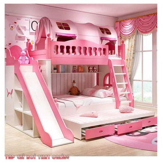 giường tầng màu hồng có cầu trượt