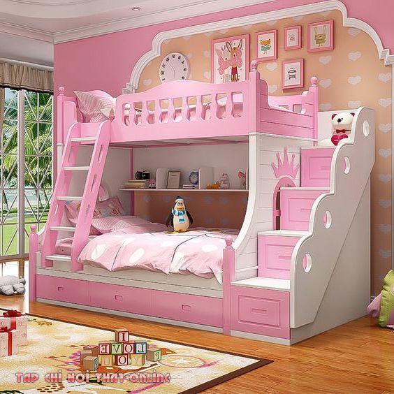 giường ngủ màu hồng công chúa 2 tầng