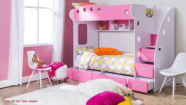 giường ngủ 2 tầng màu hồng có ngăn chứa đồ