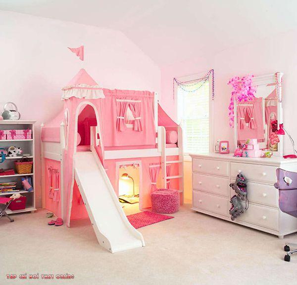giường 2 tầng màu hồng công chúa có cầu trượt