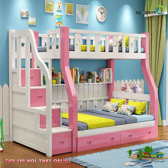 giường tầng màu hồng có ngăn chứa đồ