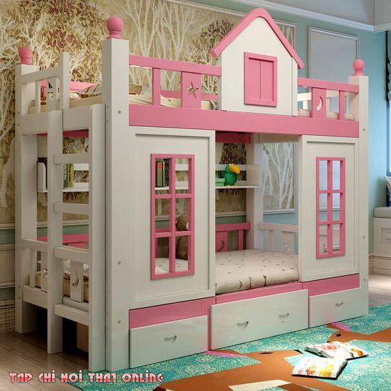 giường tầng màu hồng lâu đài cho công chúa