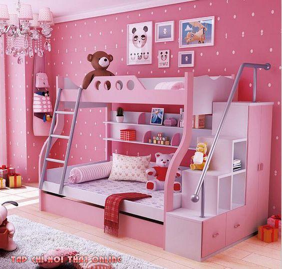 giường tầng trẻ em màu hồng hello kitty