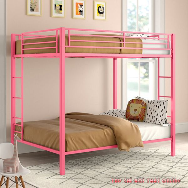 giường tầng màu hồng khung sắt