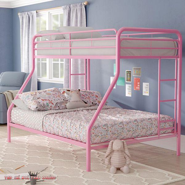 giường ngủ 2 tầng màu hồng cánh sen