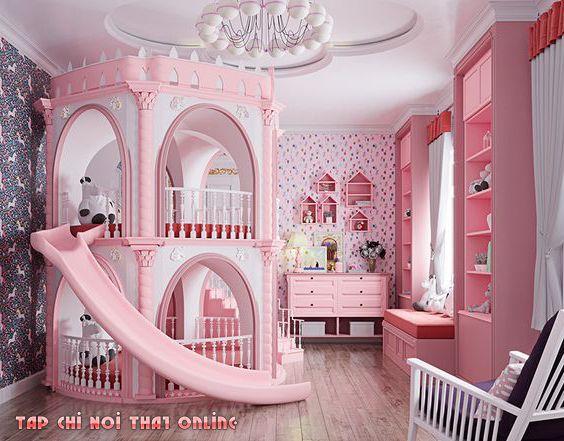 giường tầng màu hồng công chúa