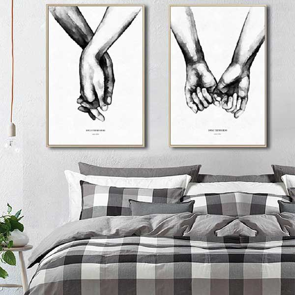 mẫu tranh dán tường phòng ngủ vợ chồng