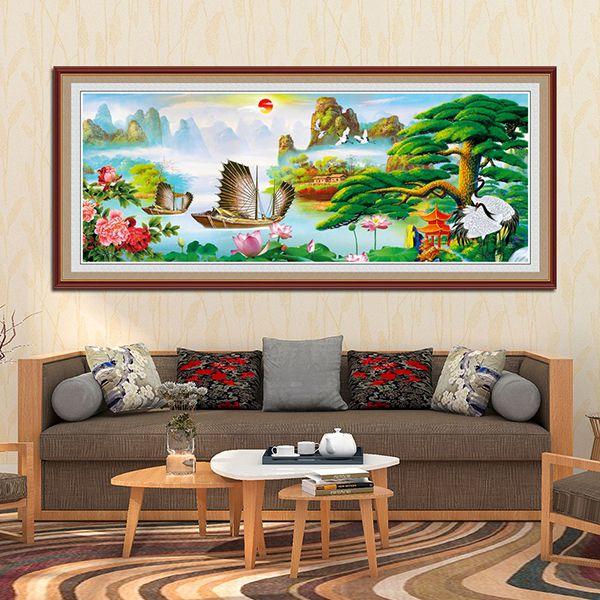 tranh treo tường phòng khách cỡ lớn hình chữ nhật