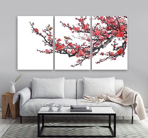 tranh treo tường phòng khách khổ lớn hoa đào