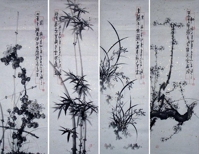 Bộ tranh tứ quý Trung Quốc cổ Tùng Cúc Trúc Mai